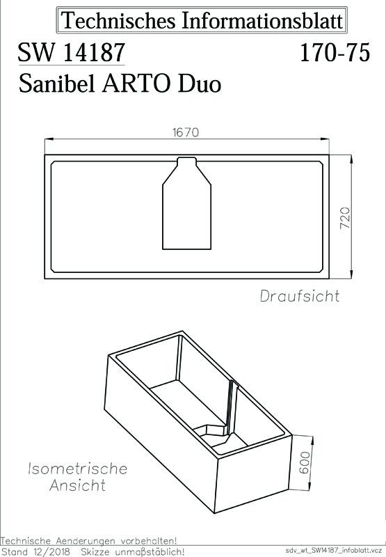 sanibel-Wannenträger für ARTO Quaryl- Badewanne Duo A18 1700x750mm