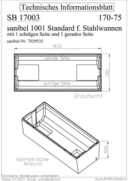 sanibel 1001-Wannenträger f Stahl-Badew. 1 schräge und 1 ...