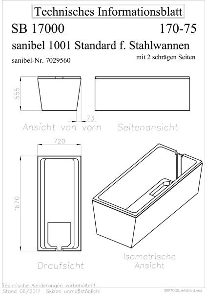 sanibel 1001-Wannenträger f Stahl-Badew. 2 schräge Seiten 1700x750mm