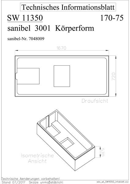 sanibel 3001-Wannenträger A09 für Acryl- Badewanne 1700x750mm