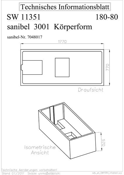 sanibel 3001-Wannenträger A09 für Acryl- Badewanne 1800x800mm