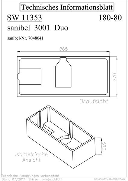 sanibel 3001-Wannenträger A09 für Acryl- Badewanne Duo ...