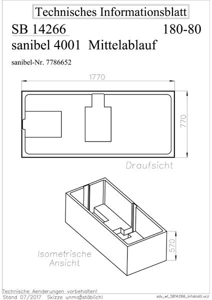sanibel 4001-Wannenträger für Stahl- Badewanne Duo A16 ...