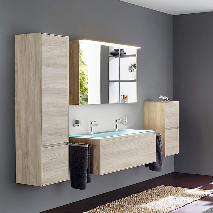 badm bel 6 0 cube eiche natur mit glas waschtisch. Black Bedroom Furniture Sets. Home Design Ideas